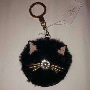 Kate Spade fuzzy cat keychain NWT
